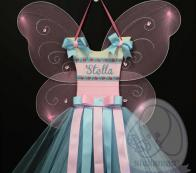 PERSONALIZED FAIRY TUTU HAIRBOW HOLDER-BABY GREEN&PINK WITH FLOWER
