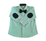 COTTON&BUTTON - GREEN STRIPES BOW TIE SHIRT WITH NAVY ELBOW