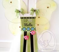 PERSONALIZED FAIRY TUTU HAIRBOW HOLDER-GREEN BLACK WITH PUPPY