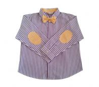 COTTON&BUTTON - PURPLE STRIPES BOW TIE SHIRT WITH YELLOW ELBOW